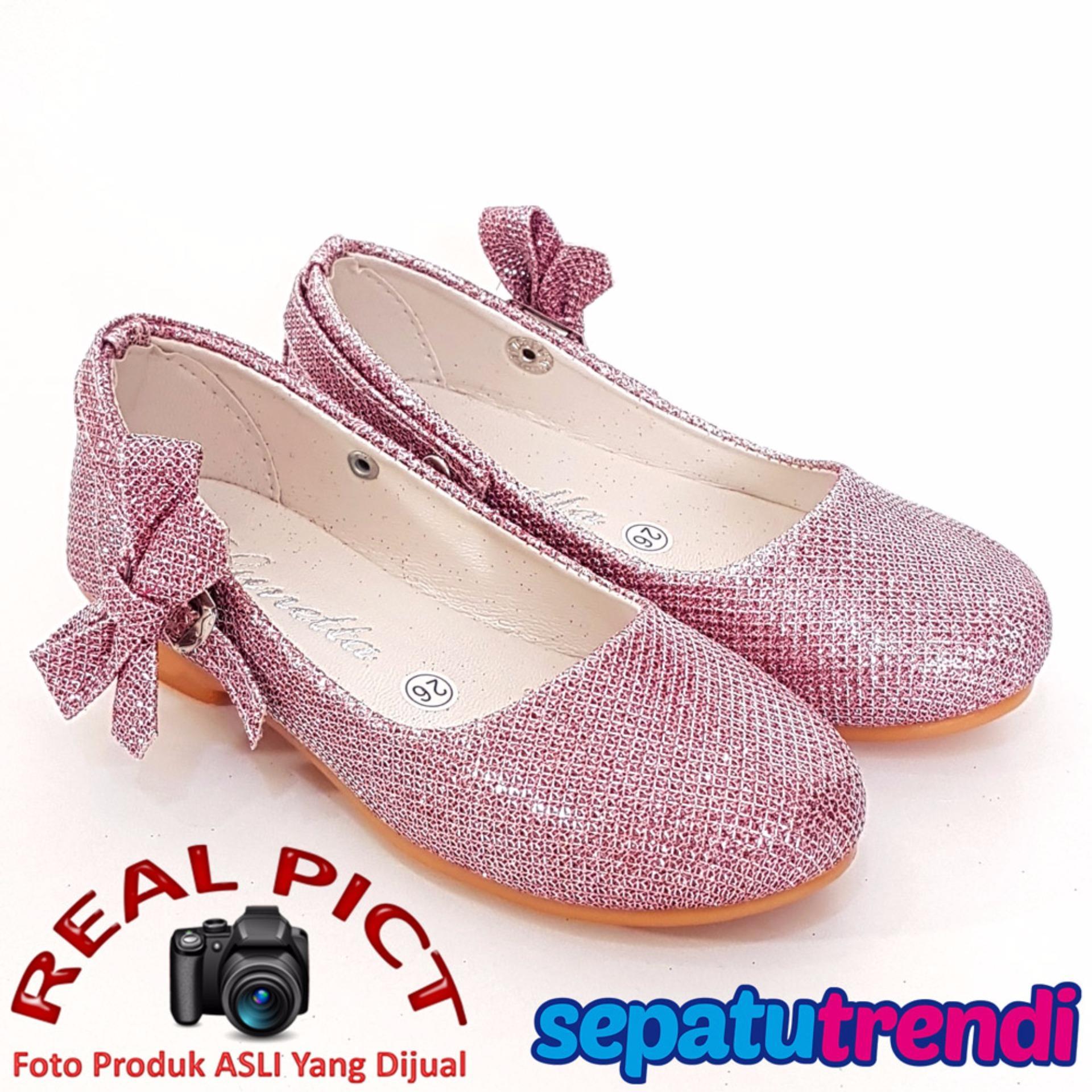 Obral Trendishoes Sepatu Anak Perempuan Glitter Pita Samping Ap013 Pink Murah