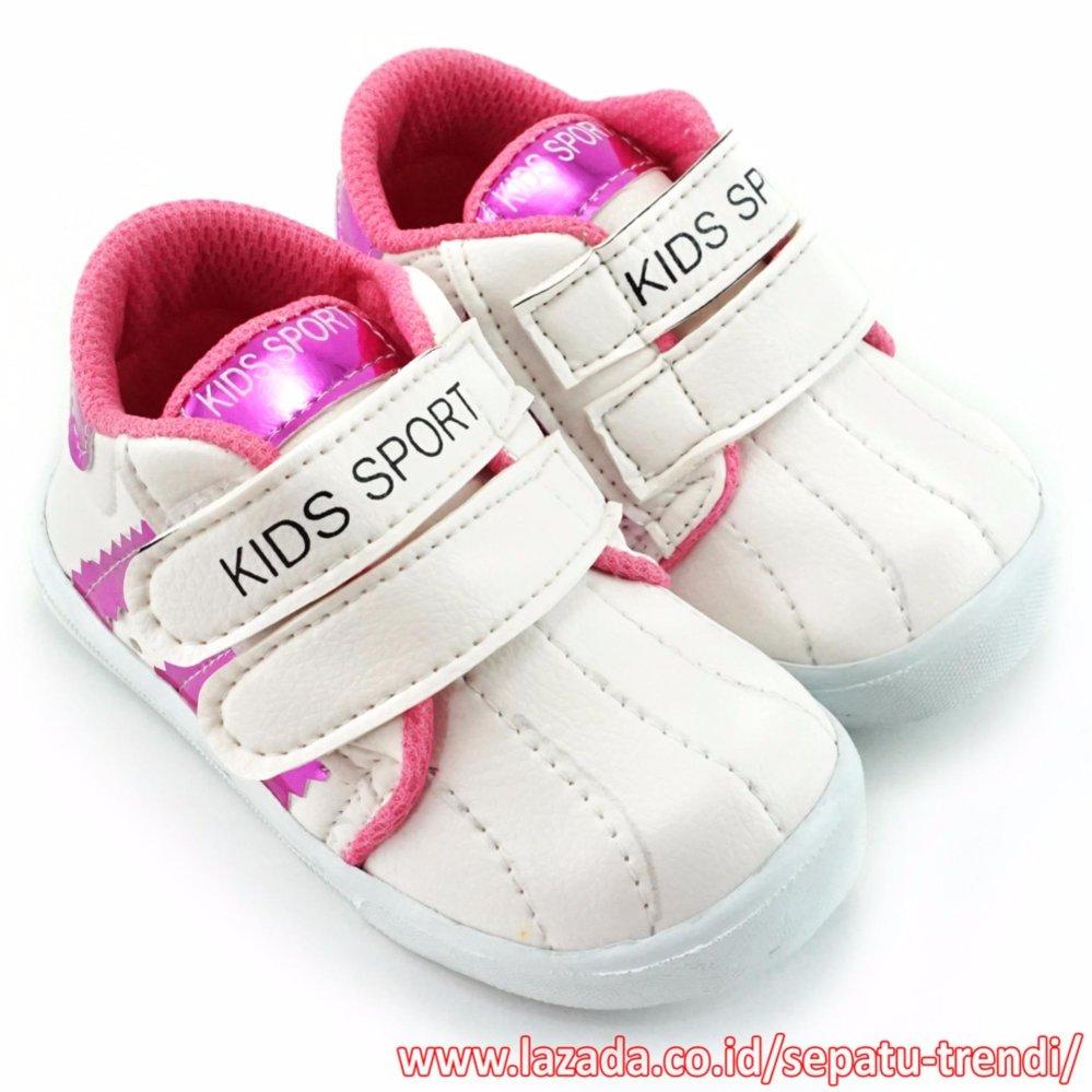 Jual Trendishoes Sepatu Anak Perempuan Kids Sport Dsag Putih Fucshia Branded