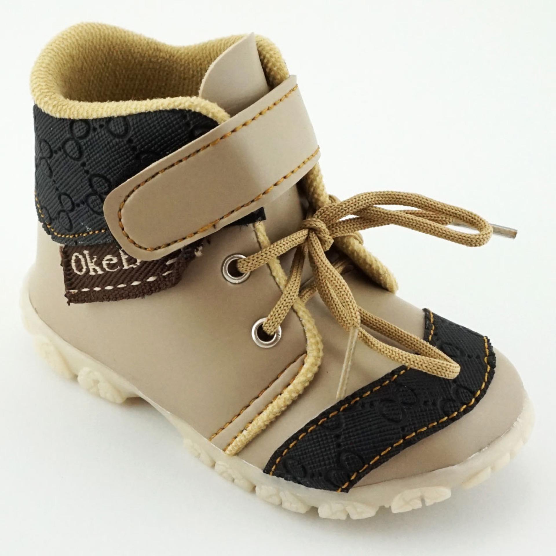 Spesifikasi Trendishoes Sepatu Boot Anak Bayi Laki Laki Okeboy Ddokb Beige Yang Bagus Dan Murah