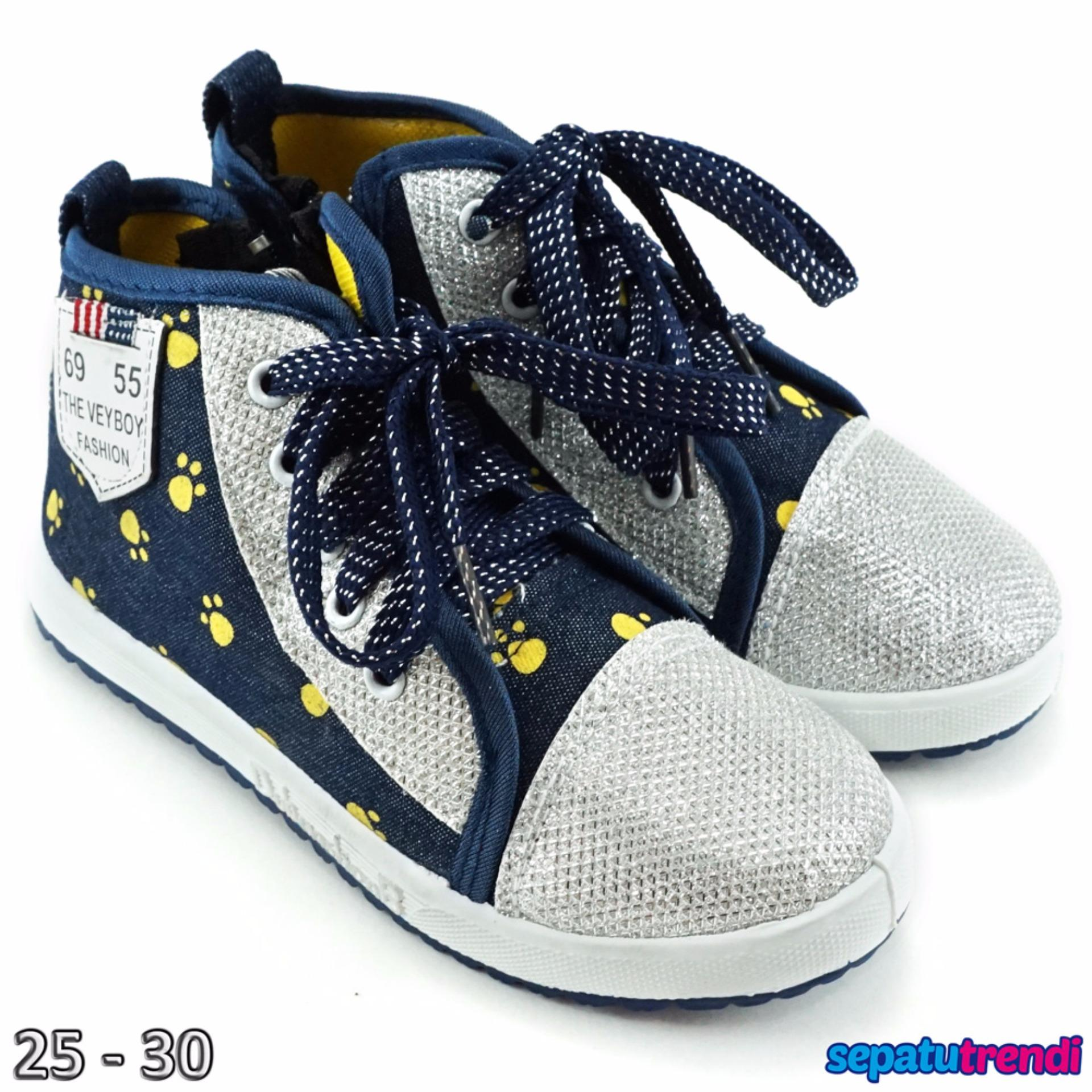 Trendishoes Sepatu Boot Anak Cewe Denim Import Zipper Veysnw Lis Navy Trendishoes Diskon 30