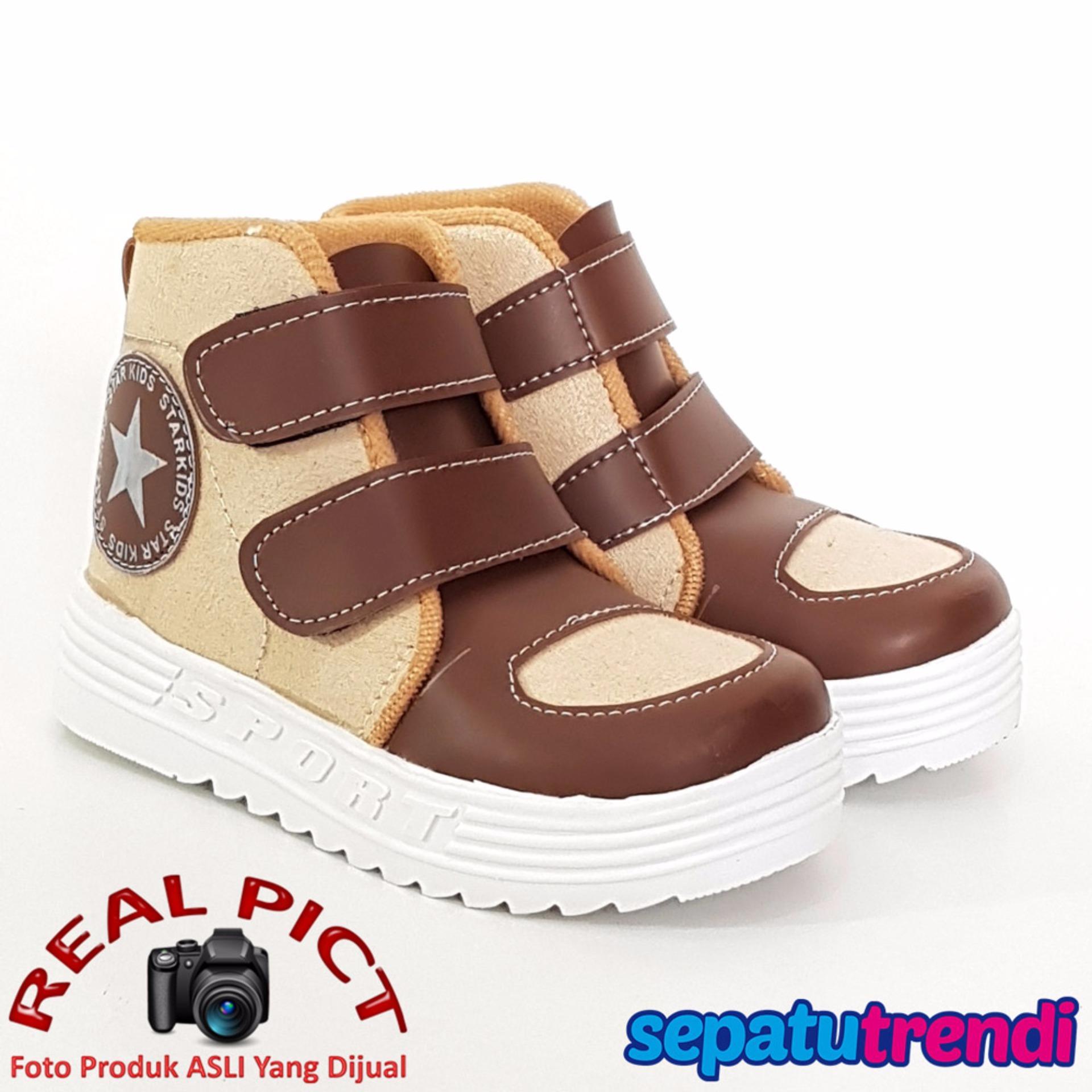 Spesifikasi Trendishoes Sepatu Boot Anak Laki Laki Star Suede Starsmp Beige Brown Lengkap Dengan Harga