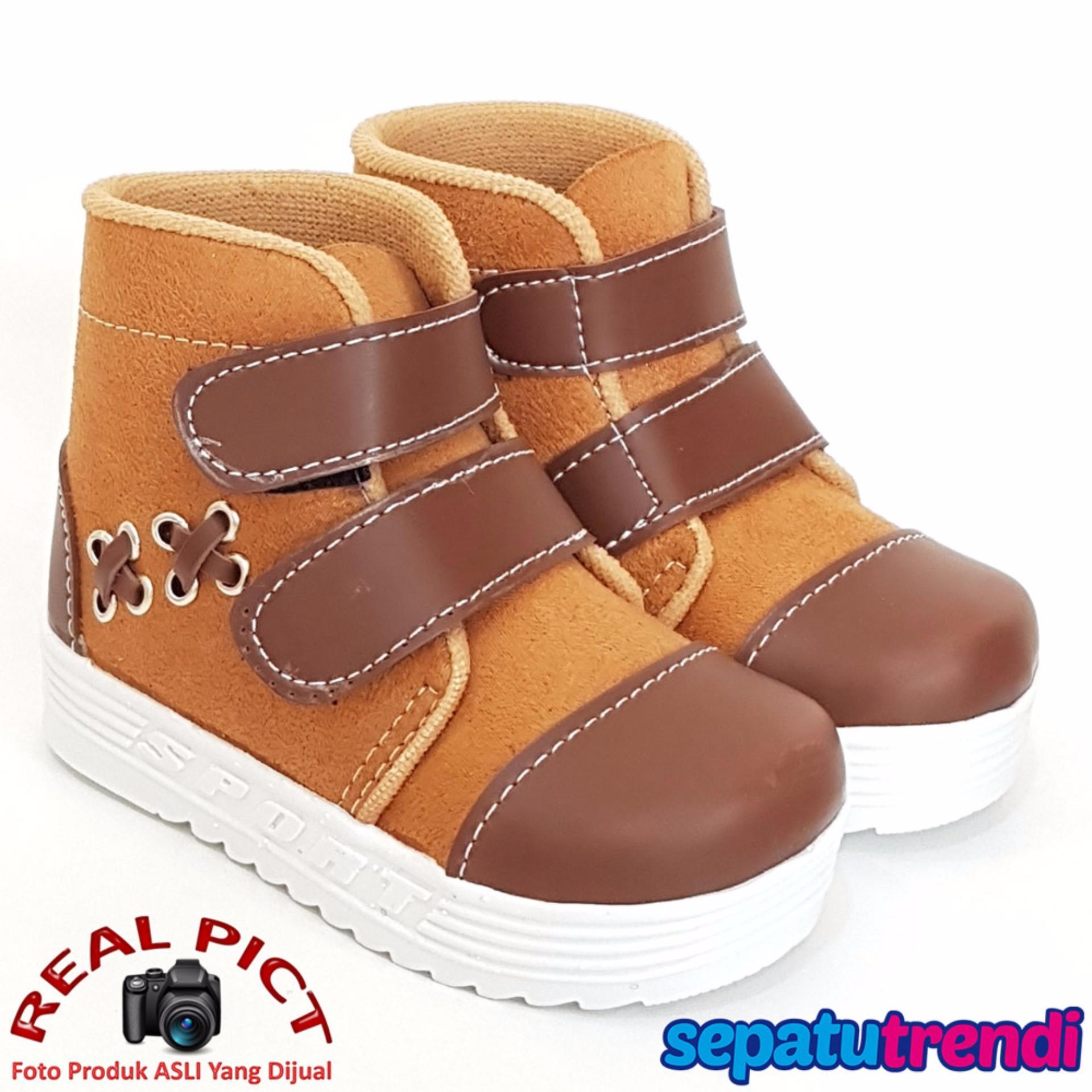 TrendiShoes Sepatu Boot Anak Laki Suede Velcro XXSP - Tan Coklat
