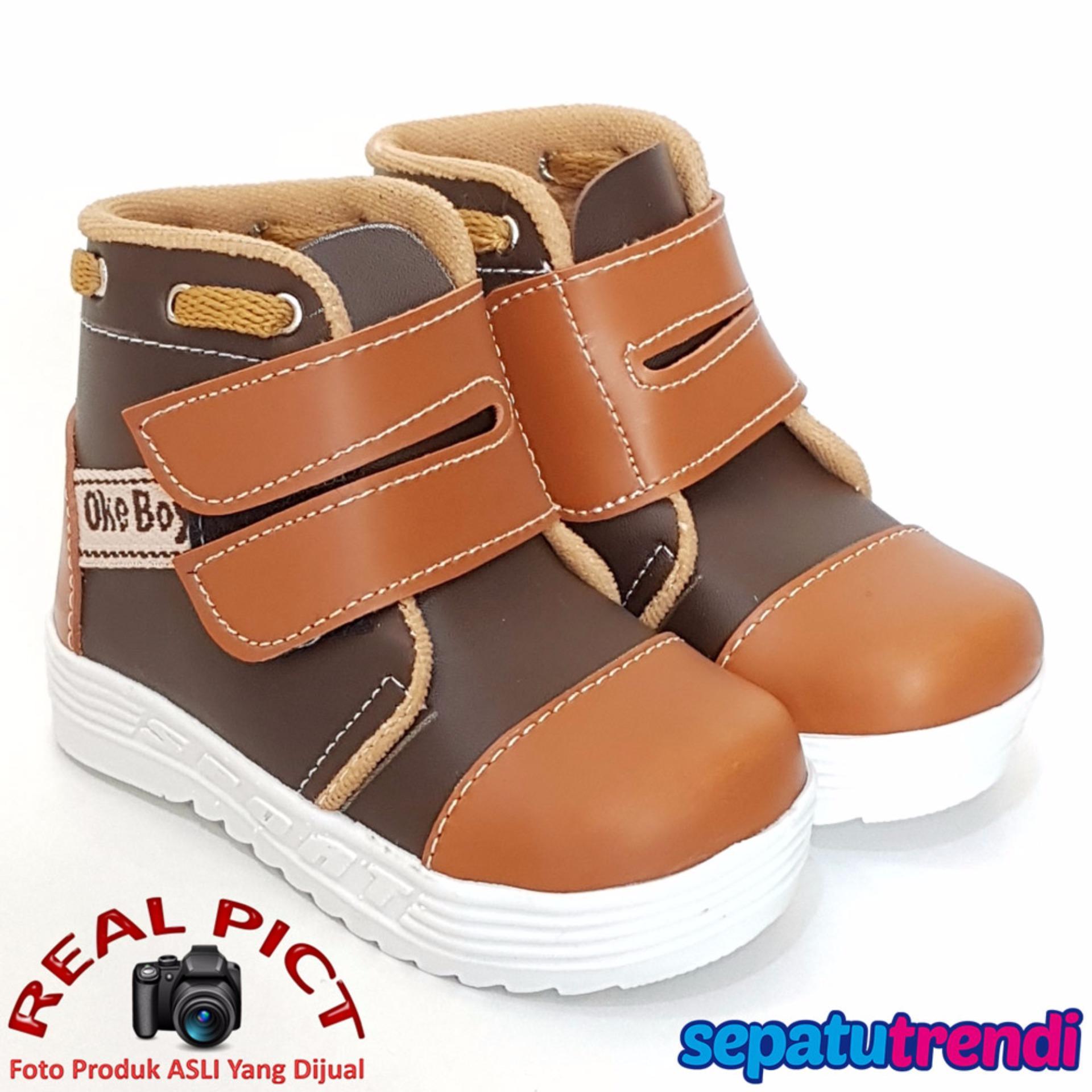 Jual Trendishoes Sepatu Boot Anak Laki Velvro Keren Okbsp Coklat Tan Trendishoes Original