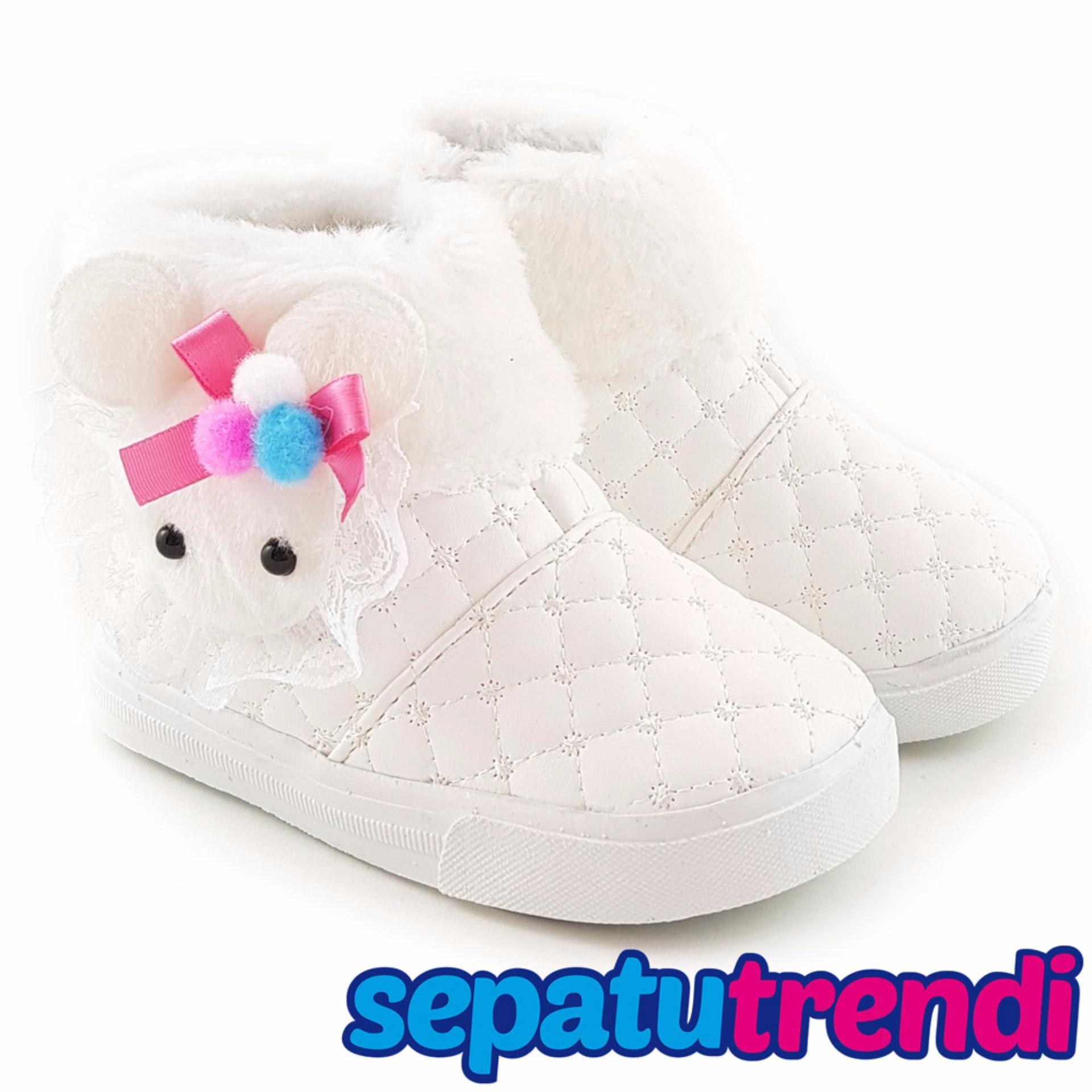 Jual Trendishoes Sepatu Boot Anak Perempuan Boneka Bulu Blbnk White Antik