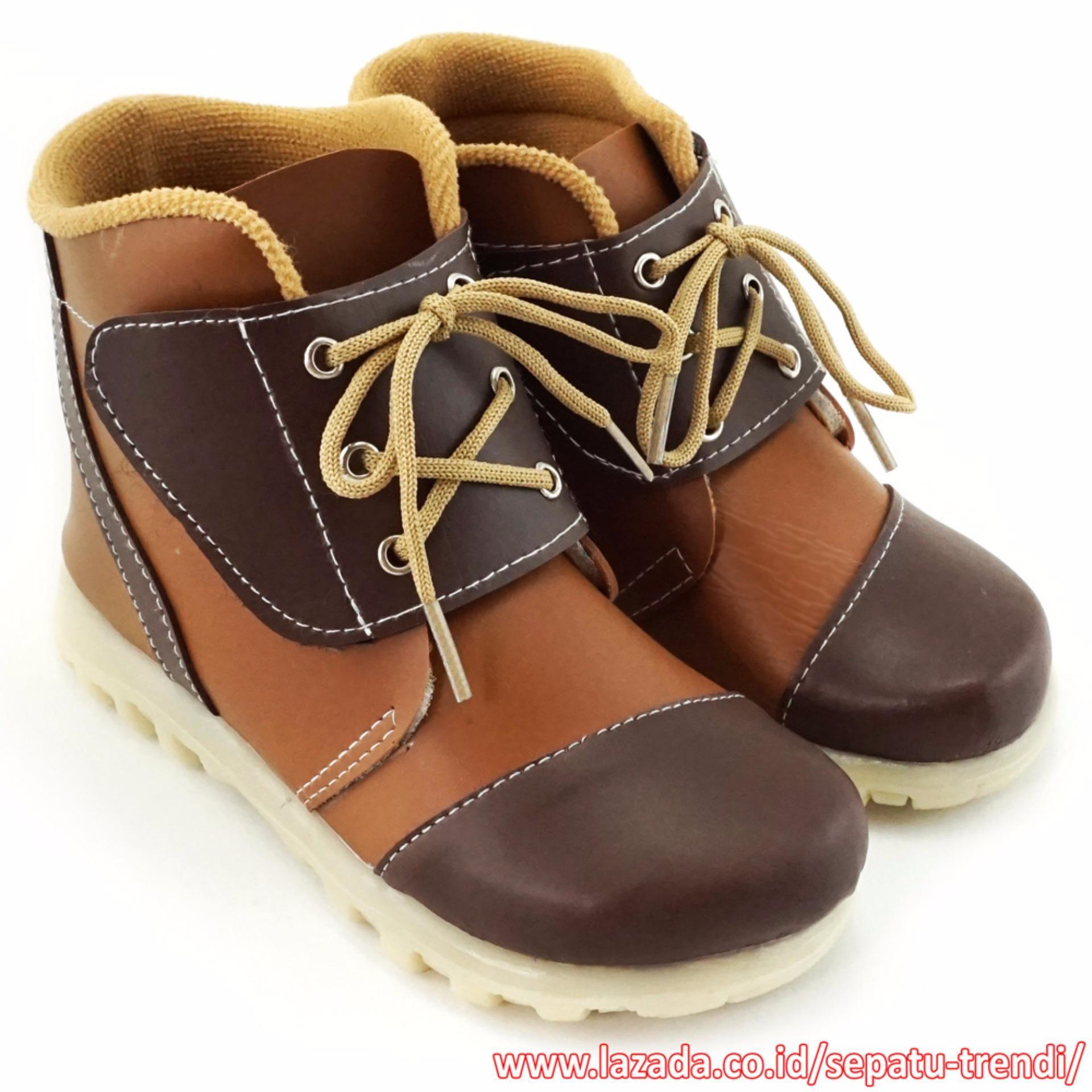 Harga Trendishoes Sepatu Boot Anak Velcro Strap Aksesori Tali 3Lv Cokelat Baru Murah
