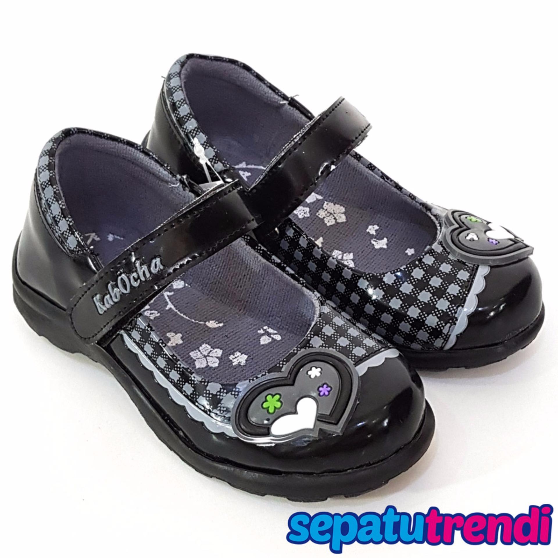 Jual Trendishoes Sepatu Sekolah Anak Perempuan Mary Jane Motif Boneka Random Kvb01 Hitam Branded Murah