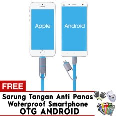 Promo Trend S Premium Cable Data 2 In 1 Kabel Flat Android Micro Usb Ios Iphone Blue Free Otg Sarung Tangan Waterproof Case