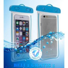 Trend's Premium High Quality Waterproof Case For iPhone / Samsung / Xiaomi / LG / Sony / Lenovo / Asus / Clear Pouch Case For Smartphone - Biru + Beli 1 Gratis 1