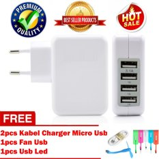 Trend's Wall Charger Adapter 5,1 Ampere 4 Port USB Premium Quality For Smartphone / Tablet / Ipad - Putih + Gratis Usb Led + Fan Usb + 2pcs Kabel Charger Micro Usb