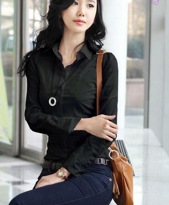 Katalog Tri Kancing Depan Ruched Kembali Wanita Lengan Panjang Slim Black Blus Intl Terbaru