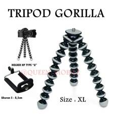 Tripod Gorilla - Tripod Lentur Fleksibel Mini Untuk HP/Kamera (Size XL) - Hitam Putih