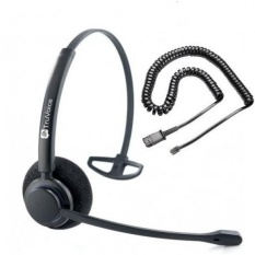 TruVoice HD-100 Profesional Single Ear Noise Canceling Kantor/Call Center Headset dengan U10P Kabel Bawah Bekerja dengan Mitel, Nortel, Avaya Digital, Polycom VVX, Shoretel, Aastra + Banyak Lagi-Intl
