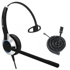TruVoice HD-500 Deluxe Single Ear Noise Canceling Office / Call Center Headset With U10P Bottom Cable works with Mitel, Nortel, Avaya Digital, Polycom VVX, Shoretel, Aastra + Many More - intl