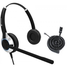 TruVoice HD-550 Deluxe Double Ear Noise Canceling Kantor/Call Center Headset dengan U10P Kabel Bawah Bekerja dengan Mitel, Nortel, Avaya Digital, Polycom VVX, Shoretel, Aastra + Banyak Lagi-Intl
