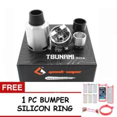 Tsunami RDA 22mm Atomizer Authentic Steel Vapor Rokok Elektrik - Tank Vape For Pico, Subox, Vgod, Ijust + FREE 1 PC BUMPER SILICON PELINDUNG HANDPHONE