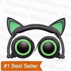 Toko Ttlife Fashion Lipat Berkedip Menyala Telinga Kucing Headphone Headset Gaming With Lampu Led For Pc Laptop Komputer Ponsel Hijau Lengkap Tiongkok