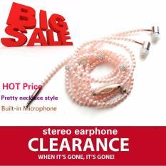 Toko Ttlife Perhiasan Kalung Mutiara Earphone Berlian Imitasi Headphone Pink Murah Di Tiongkok