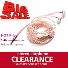 Diskon Ttlife Perhiasan Kalung Mutiara Earphone Berlian Imitasi Headphone Pink Branded