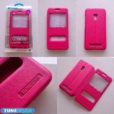 TUNEDESIGN FolioShell Leathercase Asus Zenfone 6 Pink/Merah Muda Book cover Book Case Flip Case Flip Cover Casing Hp Casing Handphone