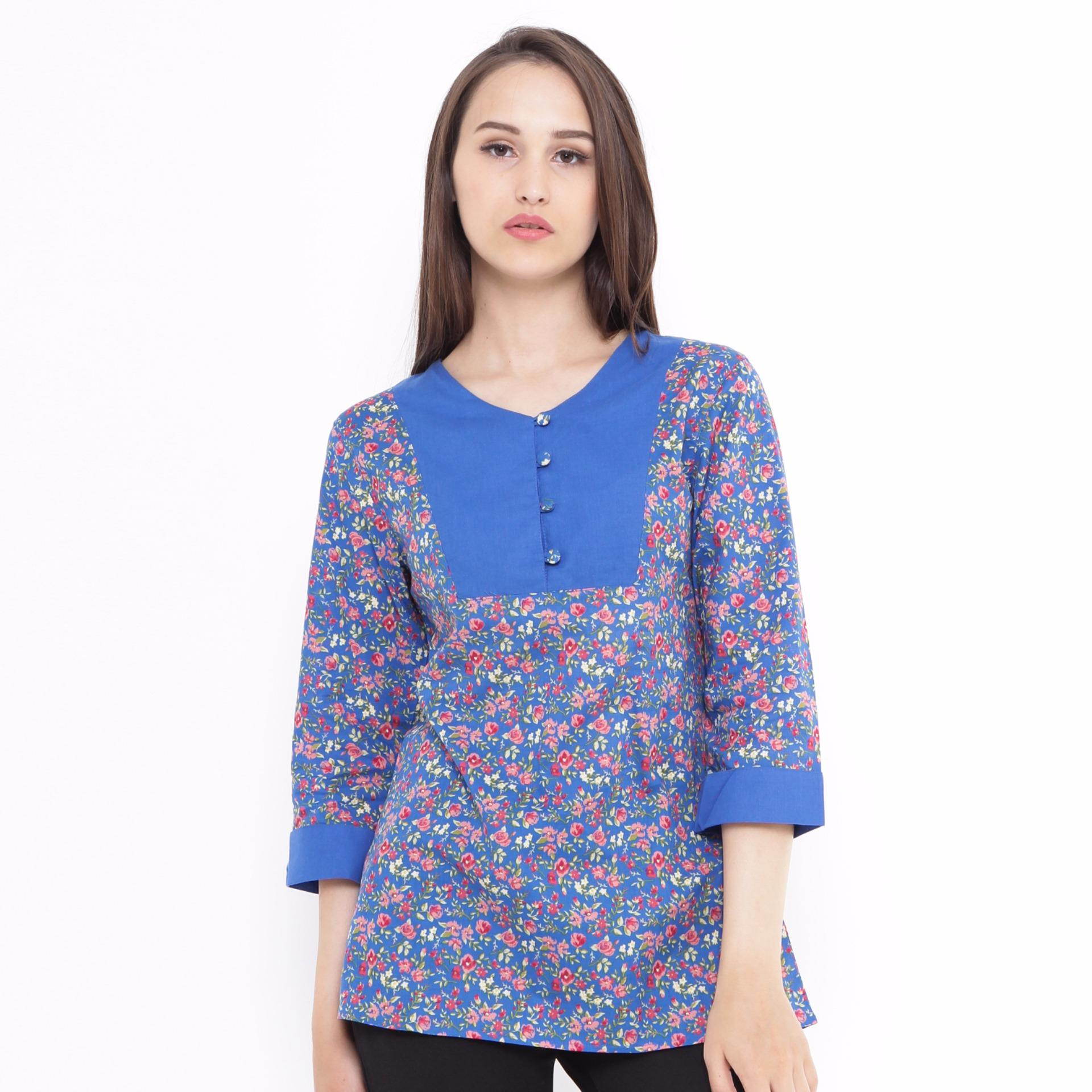 Harga Tunic Floral Combination Blue Mobile Power Ladies L8332 New