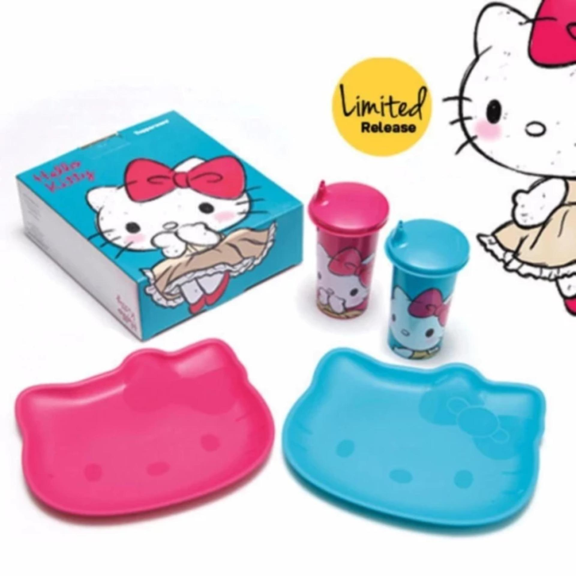 Tupperware Hello Kitty Set - Hello Kitty Tumbler (2 pcs) & Plate (2 pcs)