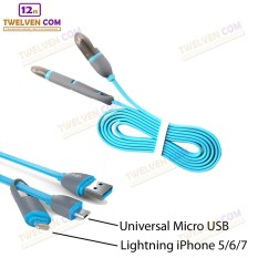 Twelven Kabel Data Multifungsi 2 IN 1 - Iphone 5 & Android / Microusb to Lightning