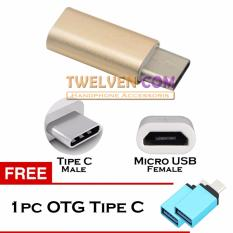 Twelven Micro USB (Female) to Type C (Male) Adapter Metal + Free OTG Tipe C