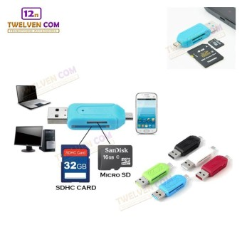 Twelven OTG Card Reader 2 in 1 for SDHC & Micro SD - Blue