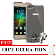 Twins Mirror Bumper Aluminium For Oppo Neo 7 - Hitam + Gratis Ultra Thin