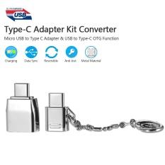 Harga Tipe C Adaptor Kit Converter Micro Usb To Type C Adaptor Usb Ke C Dengan Otg Fungsi Bahan Logam Anti Lost Ring Untuk Macbook Xiaomi Huawei Intl Yang Murah