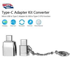 Tipe-C Adaptor Kit Converter Micro USB To TYPE C Adaptor & USB Ke C With OTG Fungsi Bahan Logam Anti-Lost Ring For MacBook Xiaomi Huawei