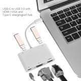 Cara Beli Tipe C Ke Vga Hdmi Tipe C Dua Usb3 Charging Converter Untuk Macbook Putih Intl