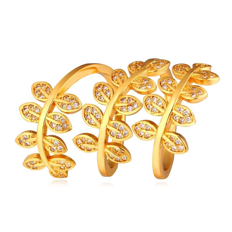 Harga U7 Bungkus Daun Kubik Zirkonia Cincin Untuk Wanita China 18 Karat Asli Berlapis Emas Fashion Aksesoris Perhiasan Emas Fullset Murah