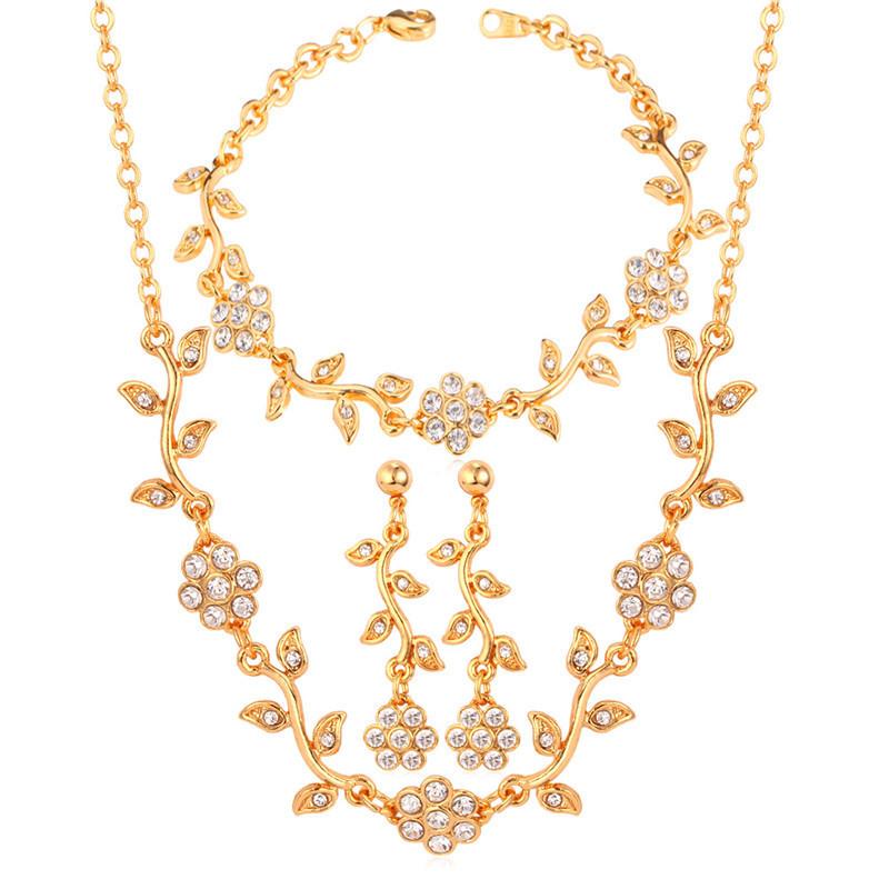 Spesifikasi U7 Membuat Bunga Kristal Bridal 18 Kb Nyata Emas Berlapis Untuk Wanita China Gelang Kalung Anting Anting Set Hadiah Mode Perhiasan Emas Murah