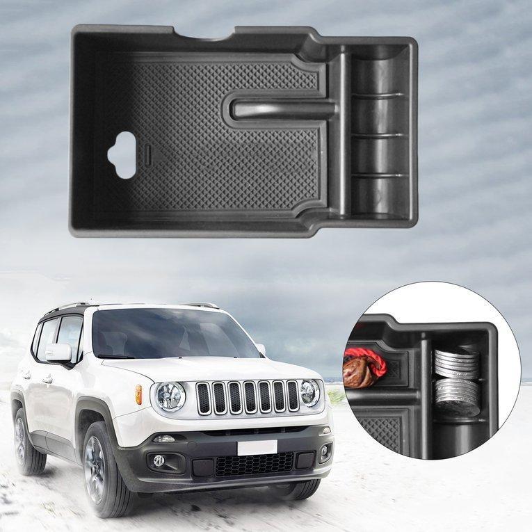 Ubest Pusat Mobil Palet Penyimpanan Wadah Kotak Pada Tangan Kursi Mobil Cocok untuk Jeep Renegade Hitam-Intl