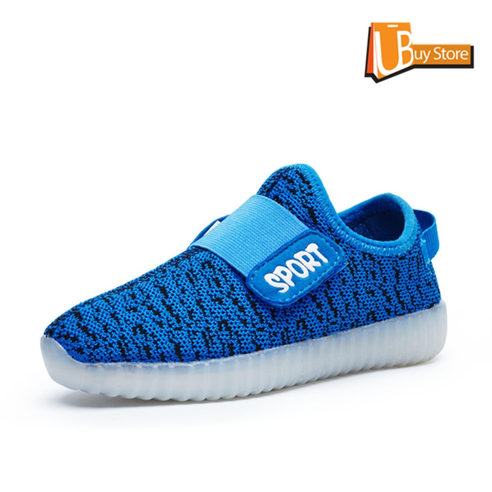 Cara Beli Ubuy Children Boys Girls Sport Pesta Fashion Kasual Sepatu Velcro Usb Charging Luminous Sneakers Led Light Up Kids Sepatu Biru