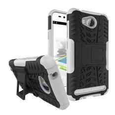UEKNT Heavy Duty Rugged Hybrid Dual Layer Kickstand Shockproof Case Pelindung Cover Case untuk Huawei Y3 II/Y3 2 /Y3II (Putih) -Intl