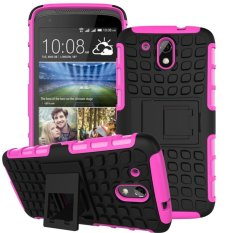 UEKNT Hybrid Dual Layer Tough Heavy Duty Perlindungan Shockproof Protective Kickstand Cover Case untuk HTC DESIRE 526g/326G (Pink) -Intl