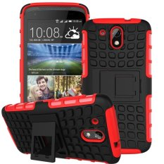 UEKNT Hybrid Dual Layer Tough Heavy Duty Protetion Shockproof Protective Kickstand Cover Case for HTC Desire 526G/326G (Red) - intl