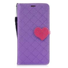 UEKNT PU Kulit Flip Case untuk Samsung Galaxy A3 2016 Dompet Folio Case Stand Cover dengan Pemegang Kartu Kredit Jantung (Ungu) -Intl