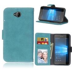 Ueokeird Pelindung Berdiri Dompet Kredit Dompet Kartu ID Pemegang Magnetic Flip Folio Pelindung Ponsel Lunak TPU Case Kulit Penutup untuk Nokia Microsoft Lumia 650-Intl