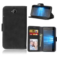Ueokeird Pelindung Berdiri Dompet Dompet Kartu Kredit Pemegang Magnetic Flip Folio TPU Lembut Bumper Kulit Case Penutup untuk Nokia Microsoft Lumia 650-Intl
