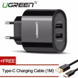 Spesifikasi Ugreen 5 V 3 4 Amp Charger Dinding Usb Ganda Dengan Gratis 1 M Tipe C Kabel Pengisian Hitam Eu Terbaru