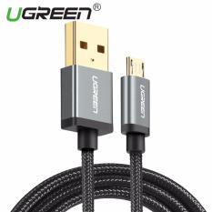 UGREEN 50cm nilon jalinan kabel Micro USB untuk Samsung Xiaomi Redmi ASUS Zenfone Handphone Sync Data kabel pengisian untuk ponsel Android hitam