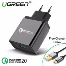 Diskon Qualcomm Bersertifikat Cepat Biaya 2 18 Watt Usb Charger Dinding Dengan Gratis 1 M Kabel Micro Usb Hitam Steker Uni Eropa Ugreen