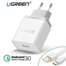 Qualcomm Bersertifikat Cepat Charge 3.0 18 W Usb Dinding Charger Ponsel Charger Dengan Gratis Tipe C Data Sync Charger Kabel (1M) - Putih UGREEN