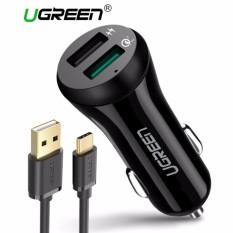 UGREEN Quick Charge 3.0 Mobil Charger Dual USB Port 30 W Cepat Adaptor Mobil dengan 1 Meter TYPE C Cepat Pengisian Kabel-Intl