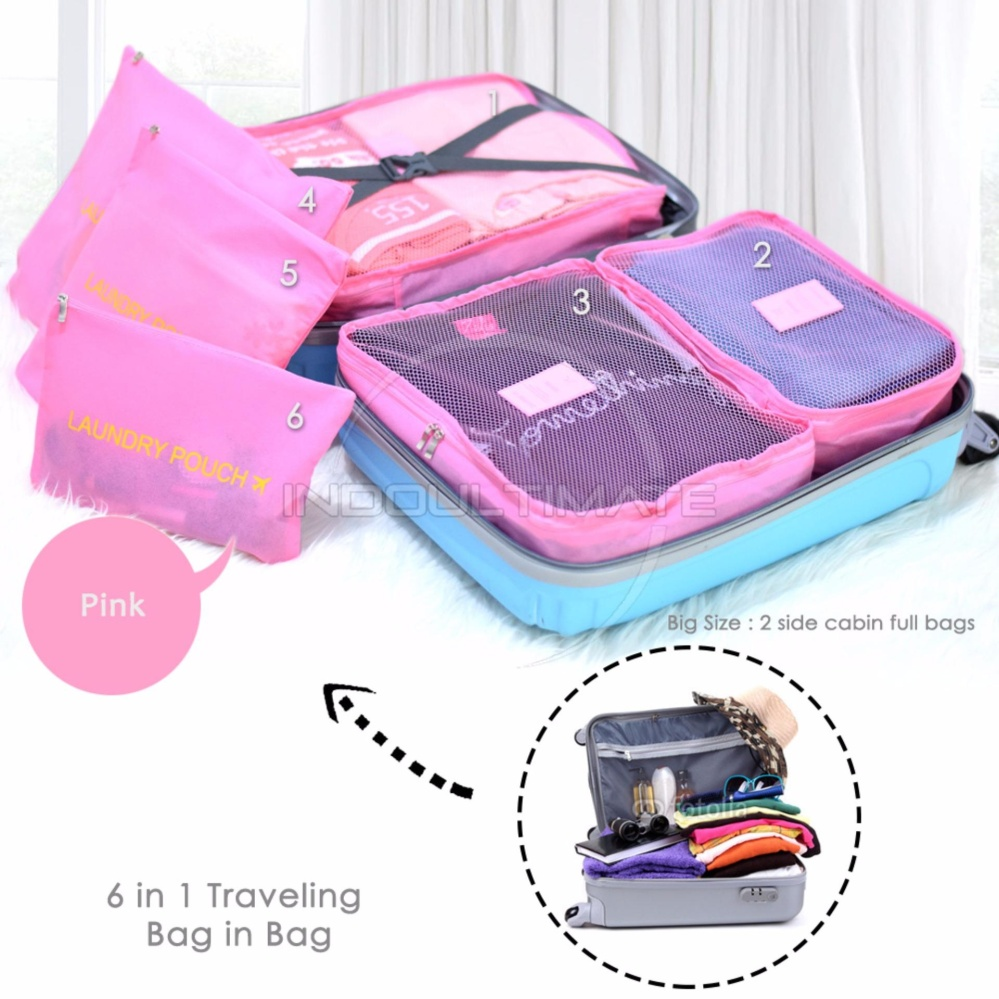 ULTIMATE BIG SIZE Travel Bag 6in1 Organizer OR 60-03 / Organizer Space Koper 1 Set - PINK