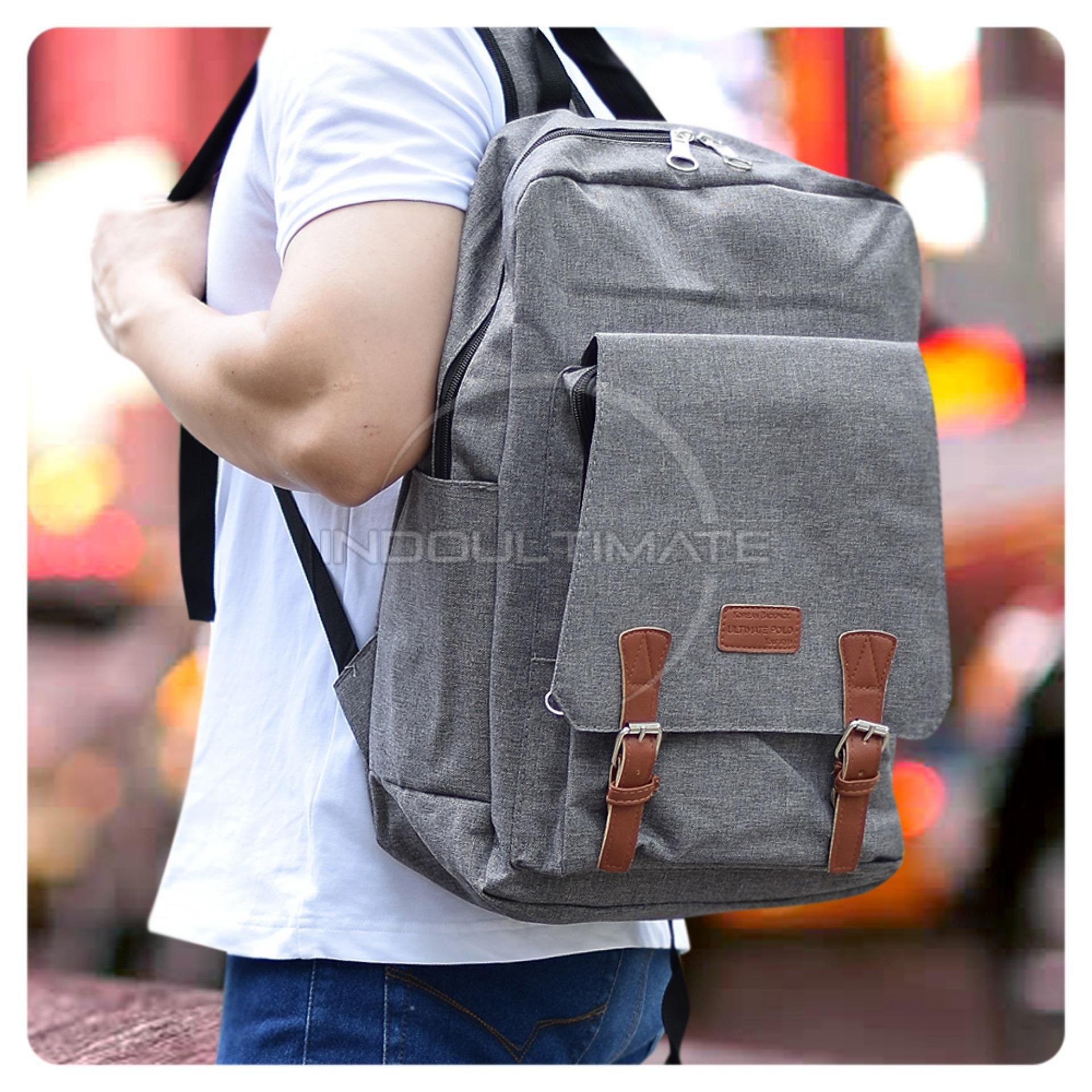 Ultimate Polo Backpack Korean Pria Wanita 853 / Tas Sekolah Anak / Tas Ransel Laptop Kanvas Kualitas Ori Import - Gray