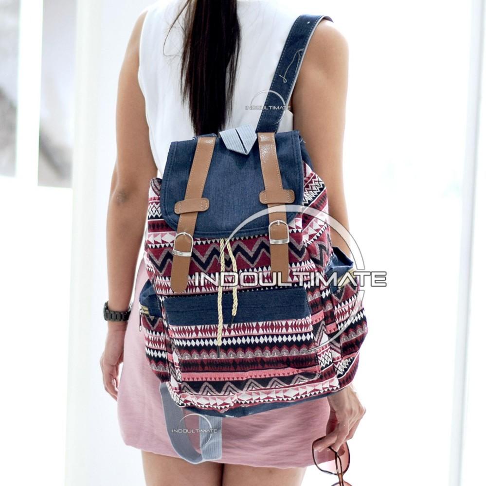 Harga Ultimate Tas Backpack Unisex Pria Wanita Punggung Ransel Kuliah Fancy Etnic Korean Bag Js 017 11 Red Terbaik